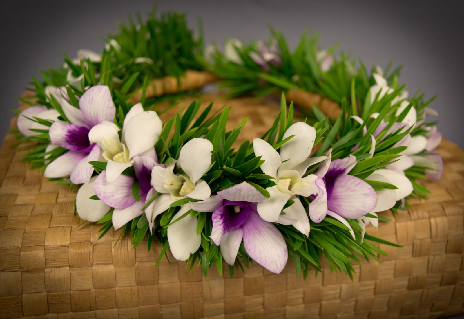 Haku orchid lei puna ohana tropical flowers leis home shop hawaiian leis haku orchid lei izmirmasajfo Images